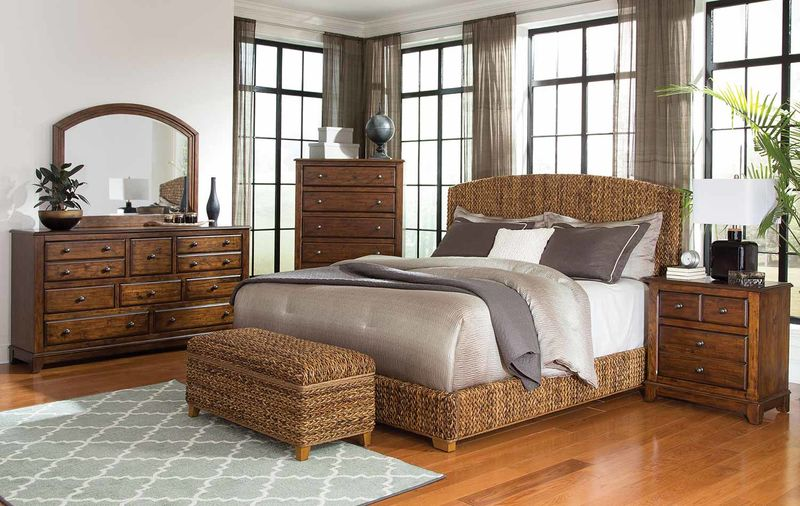 Laughton Rustic Bedroom Set with Hand Woven Bed
