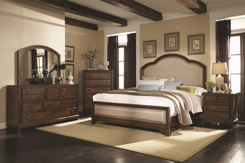 Laughton Rustic Bedroom Set with Upholstered Bed