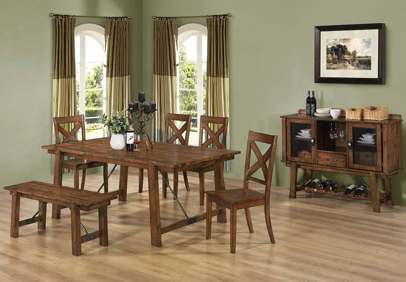 Lawson Kitchen Table Set with Bench and Plank Top