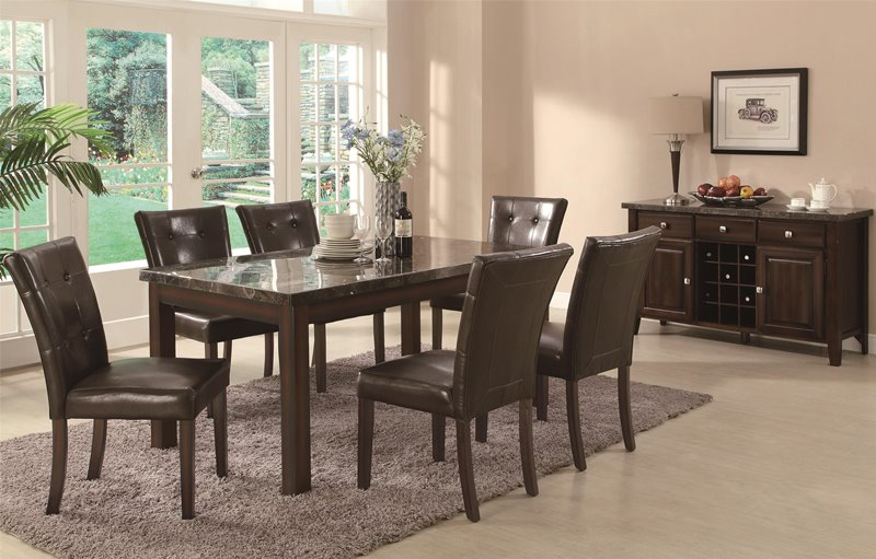 Milton Dining Table Set with Dark Marble Top
