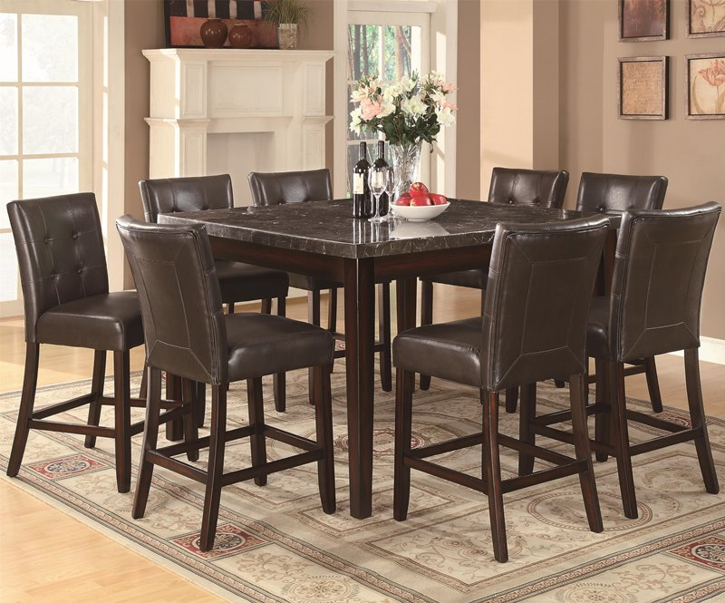 Milton Counter Height Table Set with Dark Marble Top
