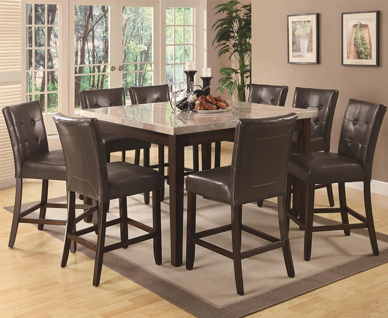 Milton Counter Height Table Set with Light Marble Top