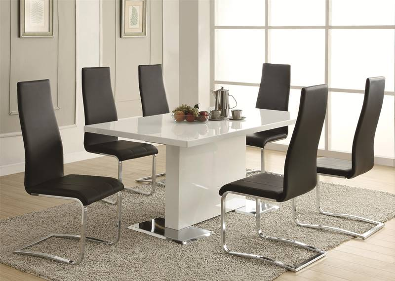 Nameth Modern Dining Room Set with Black Chairs