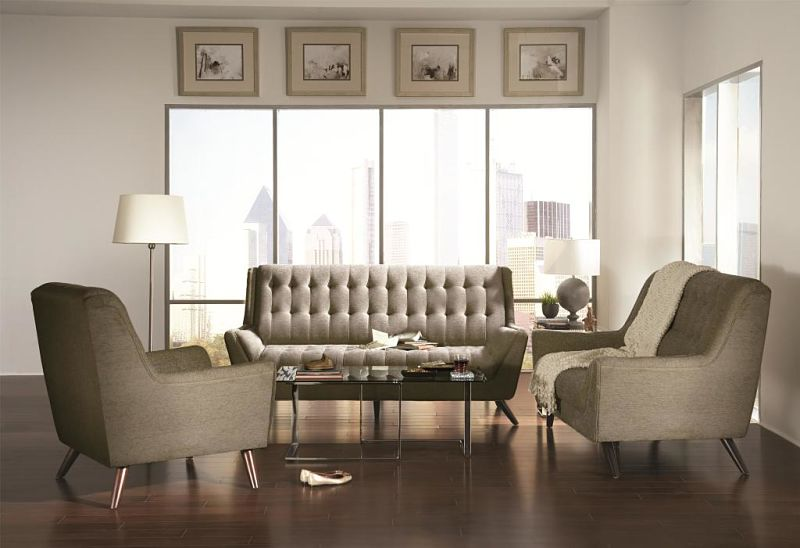 Natalia Living Room Set in Dove Grey
