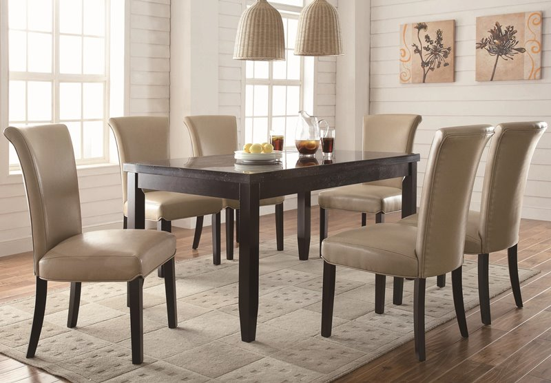 Newbridge Dining Table Set with Taupe Upholstered Chairs