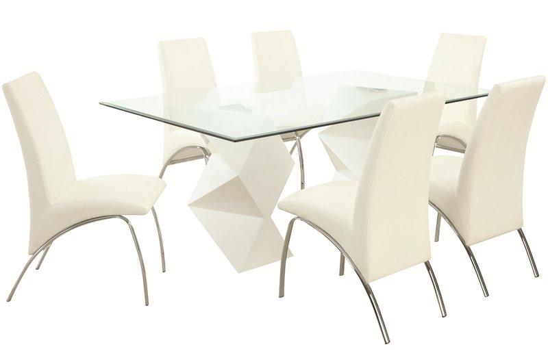 Ophelia Glass Dining Table Set in All White