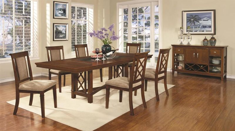 Pembrook Casual Dining Set with Inset Glass Top