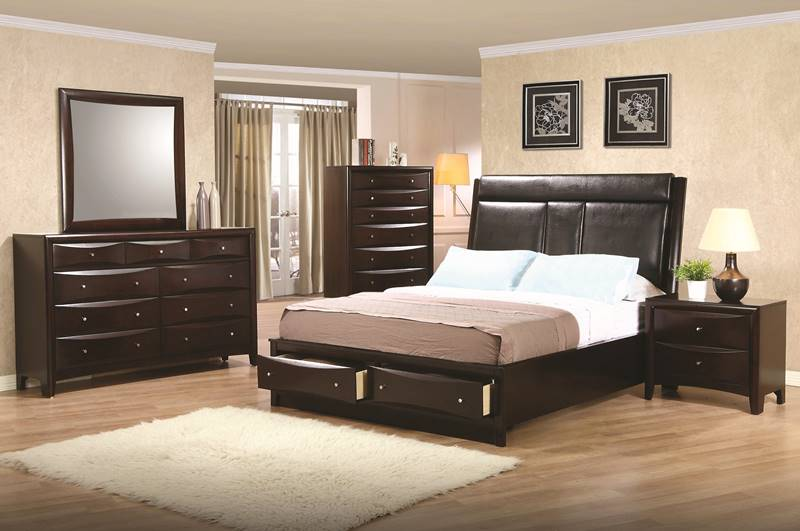 Phoenix Bedroom Set with Leatherette Storage Bed