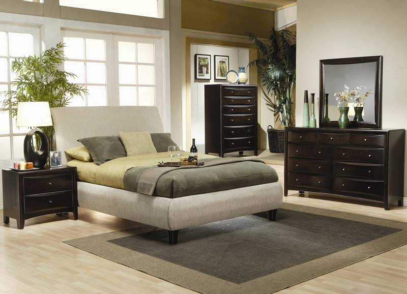 Phoenix Bedroom Set with Beige Upholstered Bed
