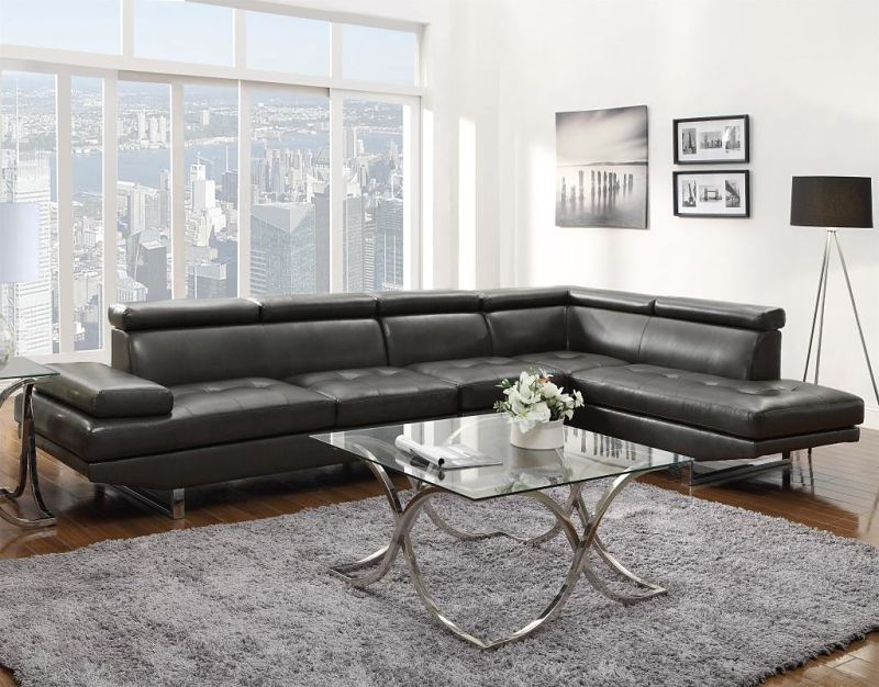 Piper Leather Sectional in Charcoal