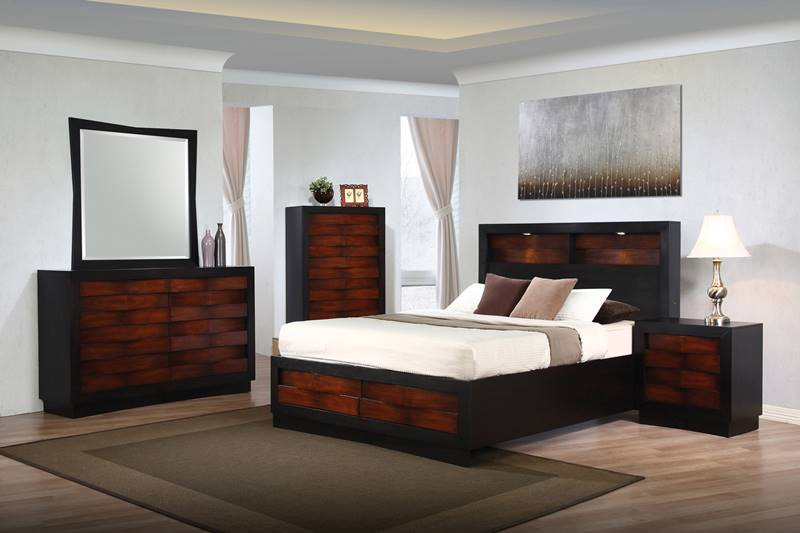 Rolwing Bedroom Set with Lighted Platform Bed