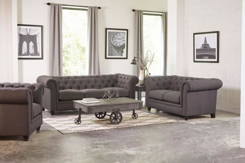 Roy Living Room Set in Grey