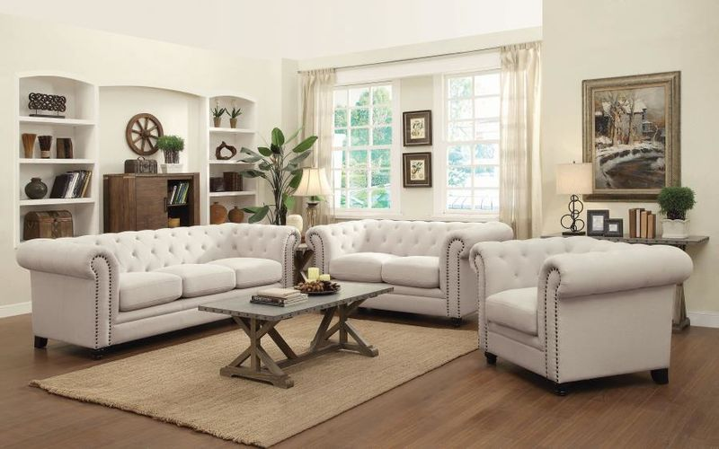 Roy Living Room Set in Oatmeal