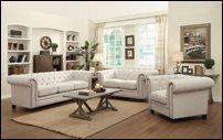 Coaster Roy Oatmeal Linen Sofa Set