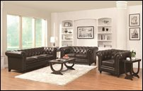 Coaster Roy Leather Sofa Set in Brown Leather
