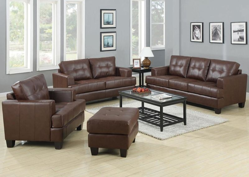 Samuel Living Room Set in Dark Brown