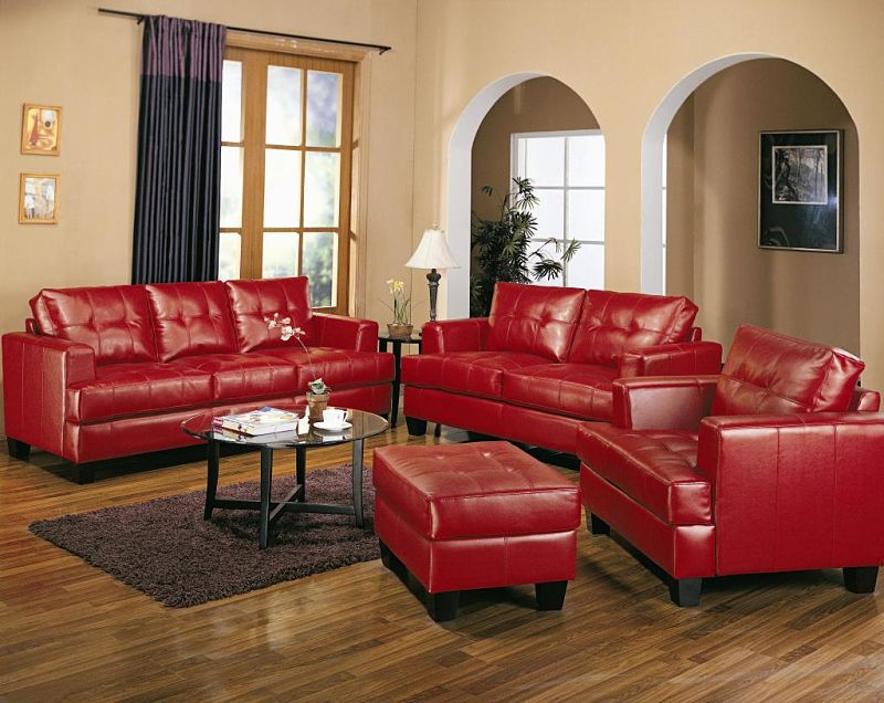 Samuel Living Room Set in Red