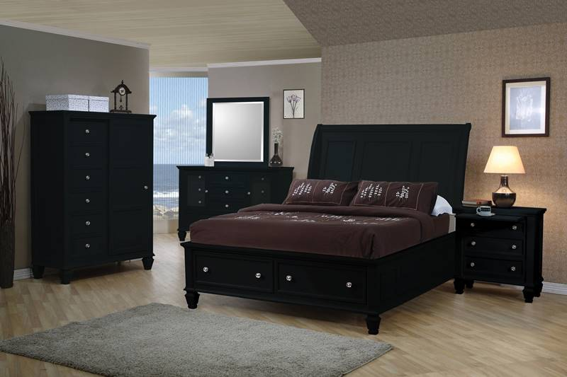 Sandy Beach Bedroom Set with Storage Bed in Black