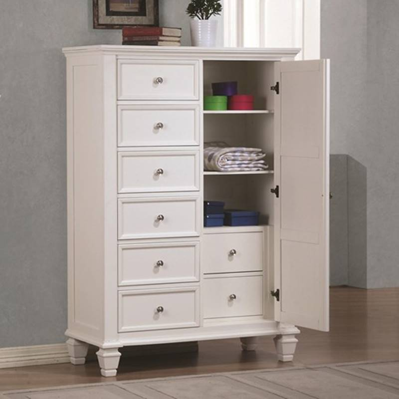 Sandy Beach Bedroom Set with Storage Bed in White