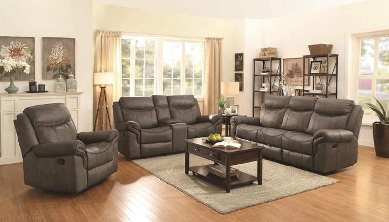 Sawyer Reclining Living Room Set in Taupe