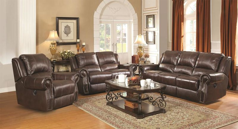 Sir Rawlinson Leather  Reclining Living Room Set with Power Motion