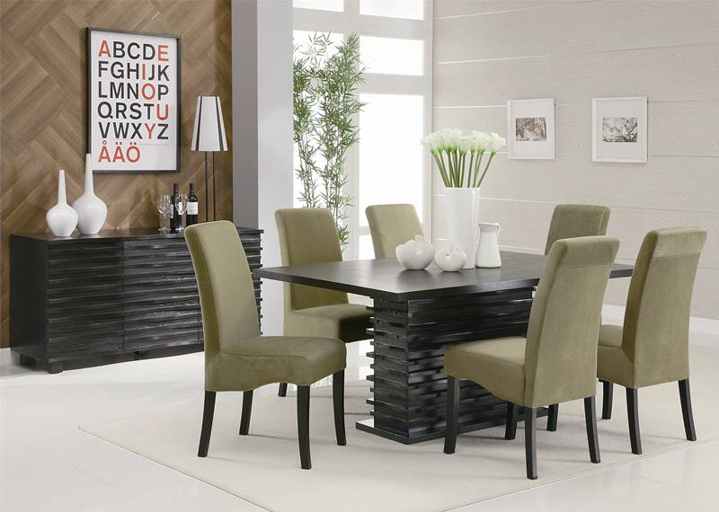 Stanton Dining Table Set with Green Chairs