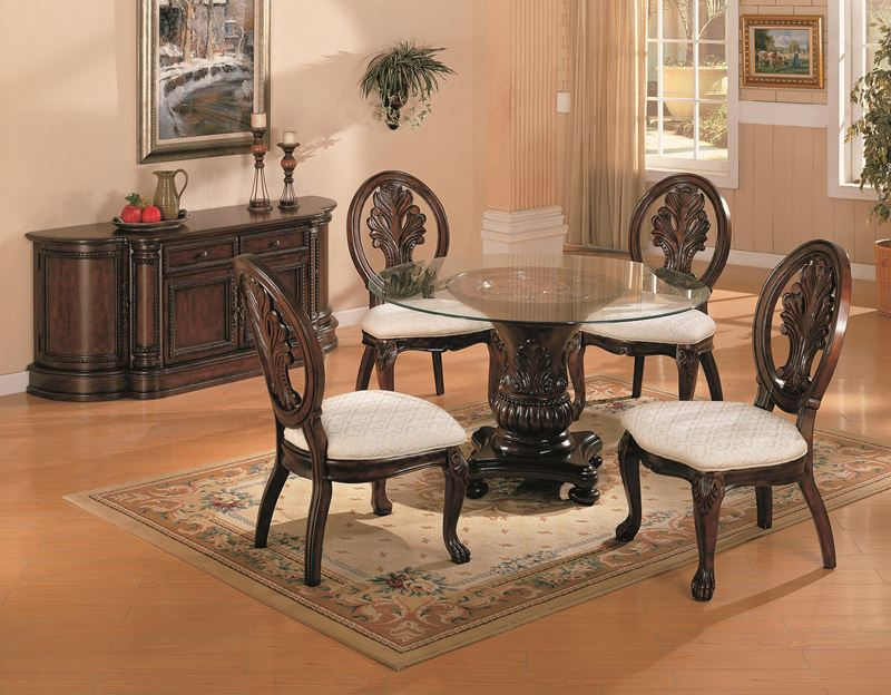 Dallas Designer Furniture Tabitha Formal Dining Room Set With Round Glass T