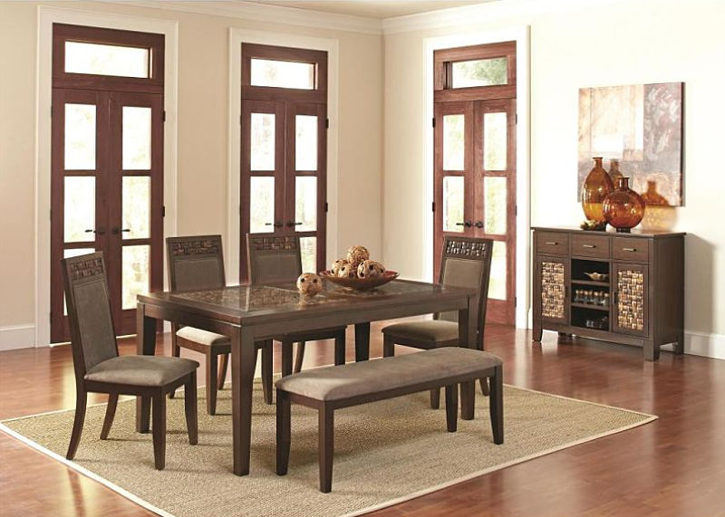 Trinidad Mosaic Dining Table Set with Bench