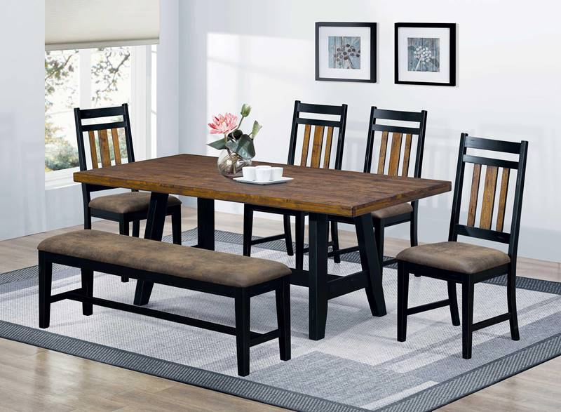 Waller Rustic Kitchen Table Set with Bench