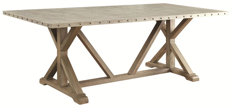 Webber Rustic Driftwood Dining Room Set with Nickel Table Top