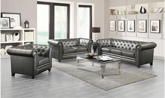 Roy Living Room Set in Gunmetal