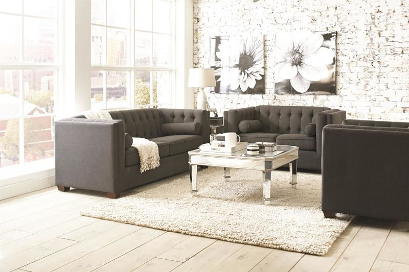 Cairns Tuxedo Living Room Set in Charcoal