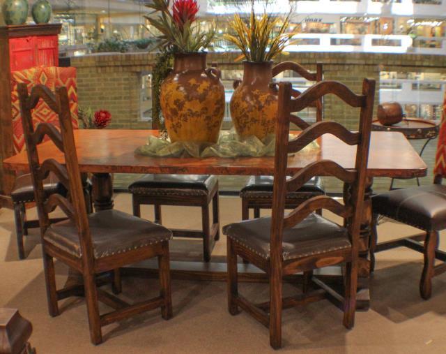 Copper Top Rustic Dining Room Set