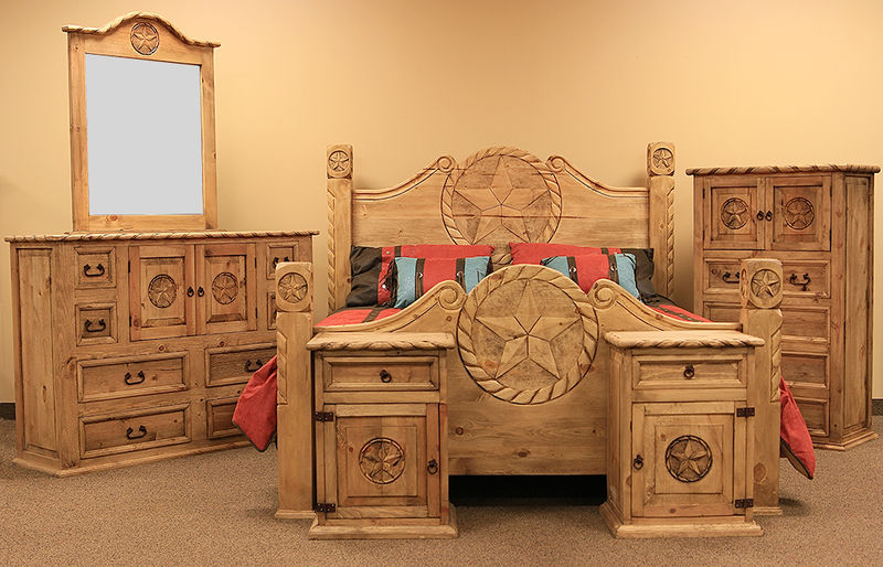 Attractive Country Rope And Star Rustic Bedroom Set With Natural Finish