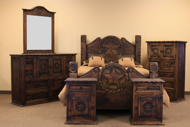 Rop021medio Country Rope And Star Rustic Bedroom Set With Medio Finish