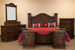 Curved Medio Rustic Bedroom Set