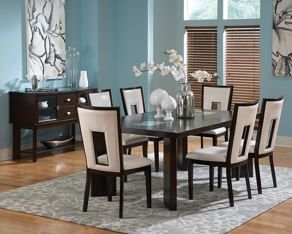 delano dining table set with cracked glass - Dining Room Furniture Dallas