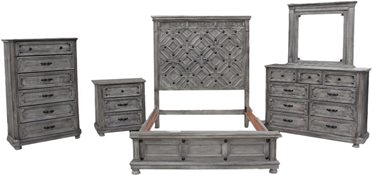 6-Piece Diamante Rustic Bedroom Set in Charcoal *Clearance*