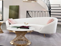 Celine Sofa in Light Cream Velvet
