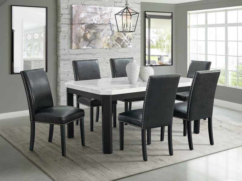 Francesca Marble Top Dining Table with Black Chairs
