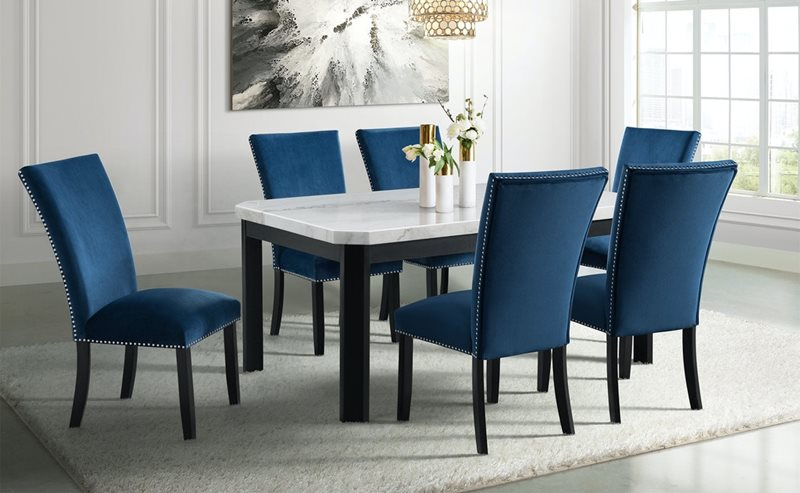 Francesca Marble Top Dining Table with Blue Velvet Chairs