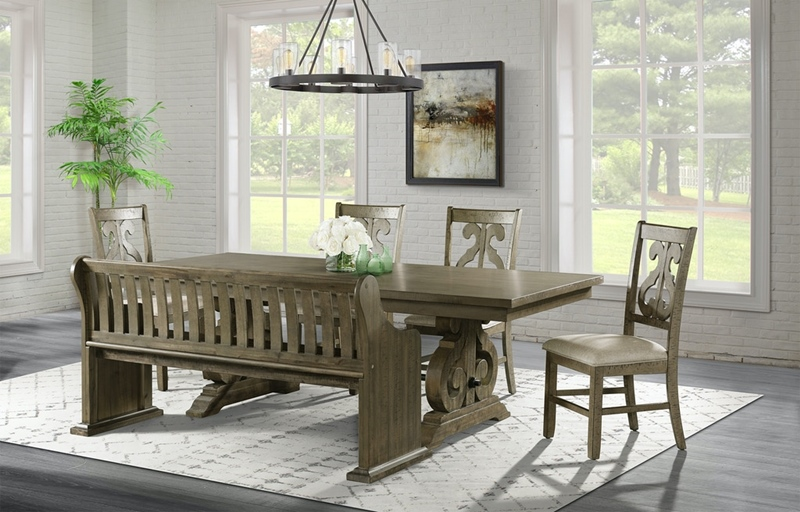 Stone Grey Dining Room Set with Pew Bench