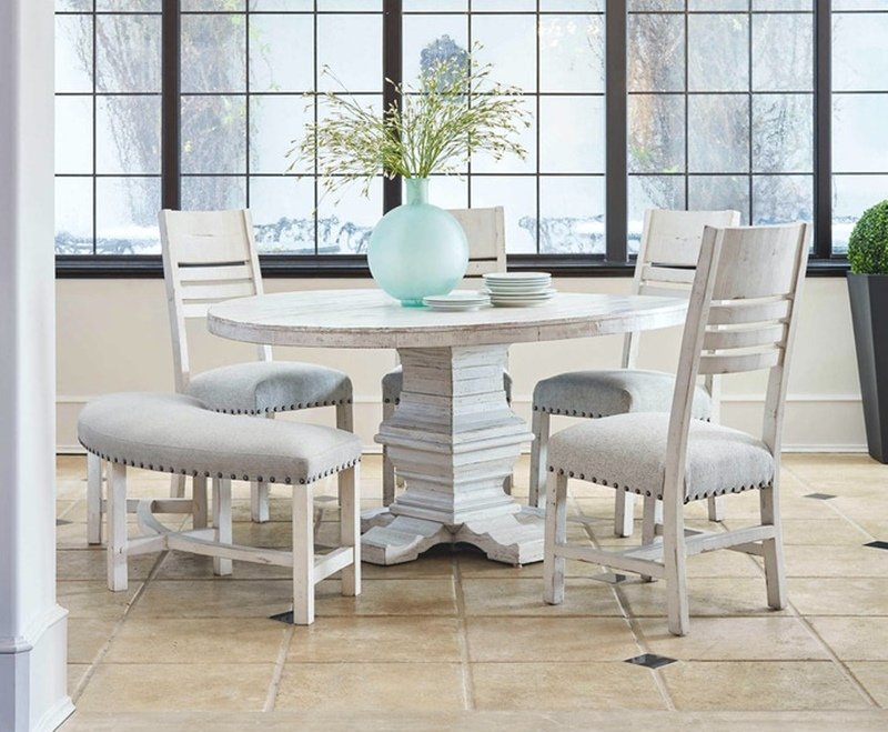Condesa White Round Dining Room Set