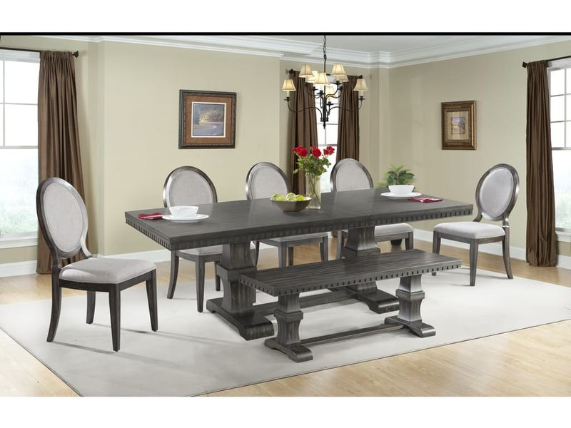 Morrison Dining Room Set with Fabric Side Chairs and Bench