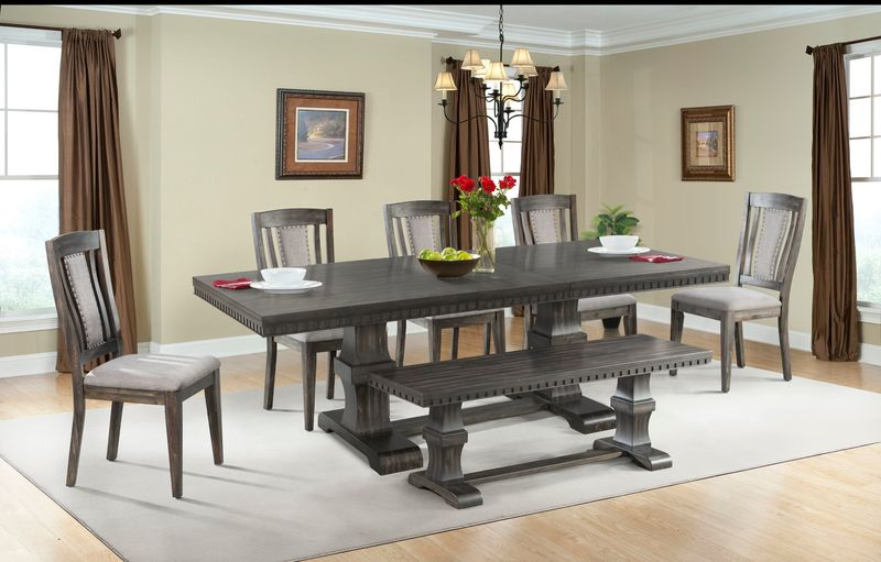 Morrison Dining Room Set with Wood Side Chairs and Bench