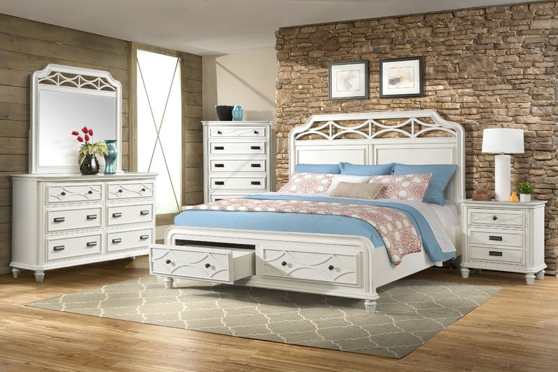 Mystic Bay Storage Bedroom Set in White