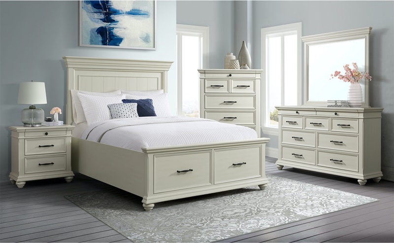 Slater Bedroom Set in White with Storage Bed