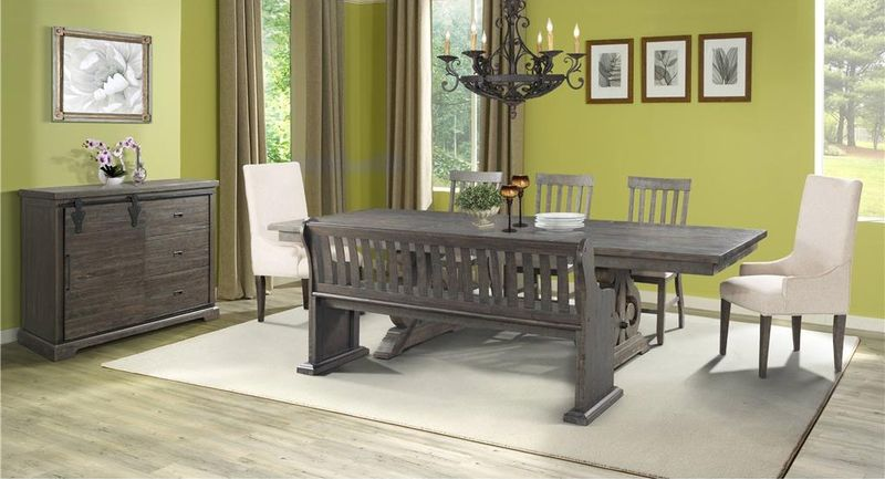 Stone Formal Dining Room Set with Bench