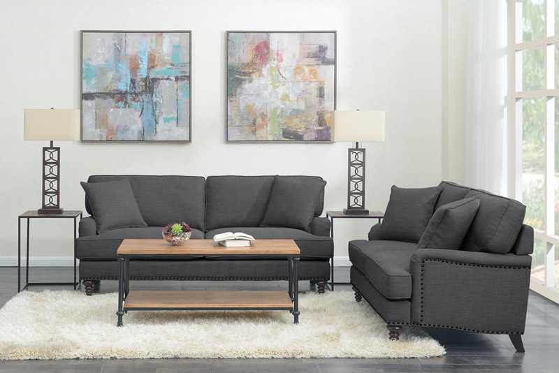 Abby Living Room Set in Charcoal