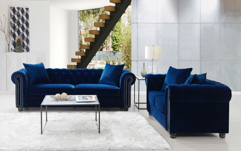 Greenwich Living Room Set in Navy